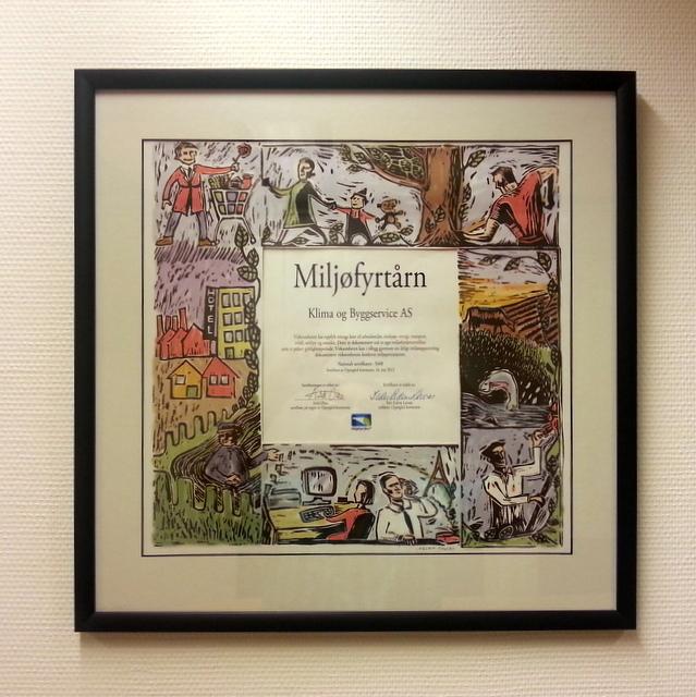 Diplom for Miljøfyrtårnsertifisering